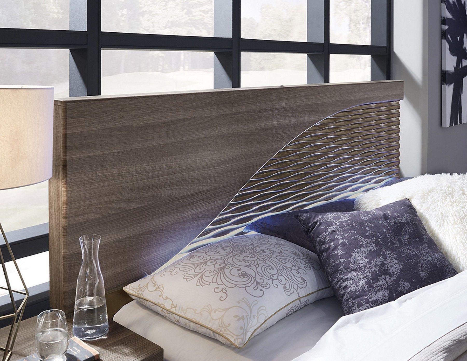 Global USA North Zebra Wood/gold Modern Led Bed W