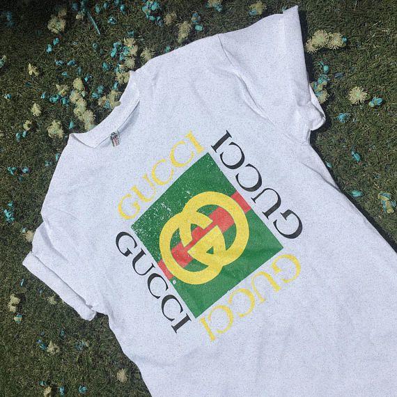 Vintage Gucci Bootleg T Shirt Sunnyseajade On Ig Sunnyseajade On Etsy Sunnyseajade On Fb Tee Tshirts Fashion Fas Vintage Gucci Tshirt Style Shirts