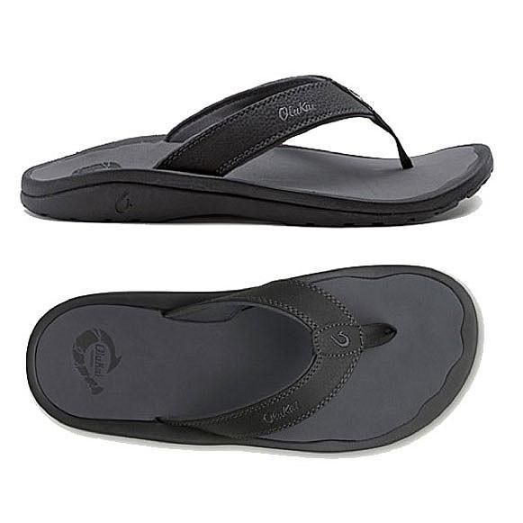 Olukai Ohana Men's Sandals - Black / Dark Shadow