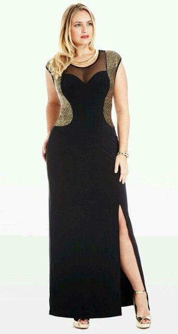 Vestidos negro con dorado para gorditas