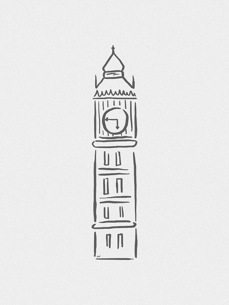 Big Ben Minimalista Relogio Desenho Producao De Arte Desenhos Faceis