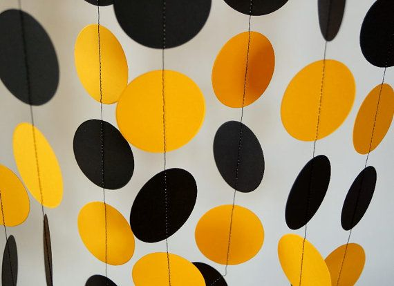 Black and Gold School Colors Garland, Graduation Decor, Birthday Party Paper Garland, Black & Yellow via Etsy