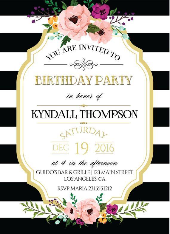 Black White Stripes Adult Birthday Invitation Printable Gold - Black and white striped birthday invitations