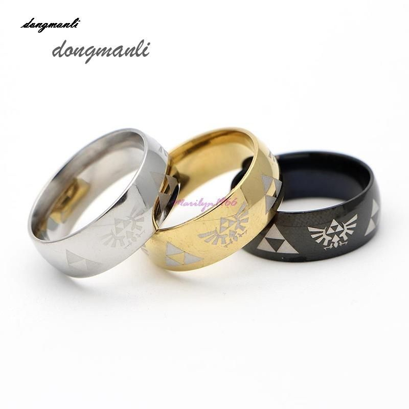 mf0803 hot sale legend of zelda ring shiny black mens tungsten carbide wedding ring for men - Zelda Wedding Ring