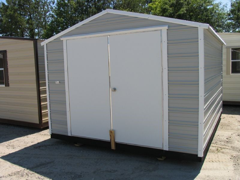 Storage Shed 10 X 12 Long Roof Gray White. PRE BUILT ALUMINUM Storage  Buildings