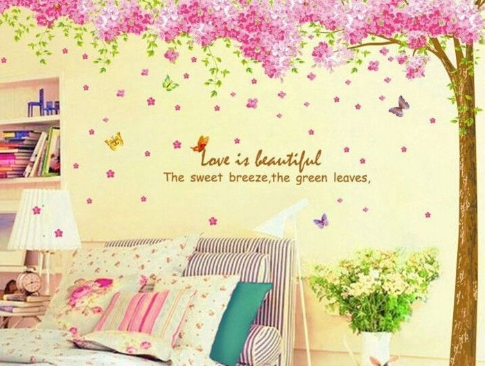 Pink Cherry Blossom Flower Tree Wall Sticker Art Mural Home Decor Decal Us Mixdecal Floral Wall Sticker Diy Wall Decals Nursery Wall Decals