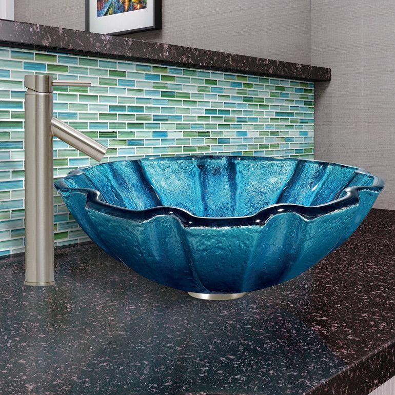 Mediterranean Seashell Glass Vessel Bathroom Sink and Dior Faucet ...