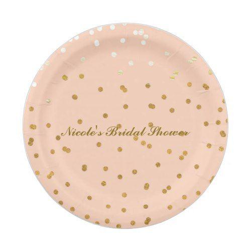 Peach u0026 Gold Confetti Dots Modern Bridal Shower Paper Plate  sc 1 st  Pinterest & Peach u0026 Gold Confetti Dots Modern Bridal Shower Paper Plate | Gold ...