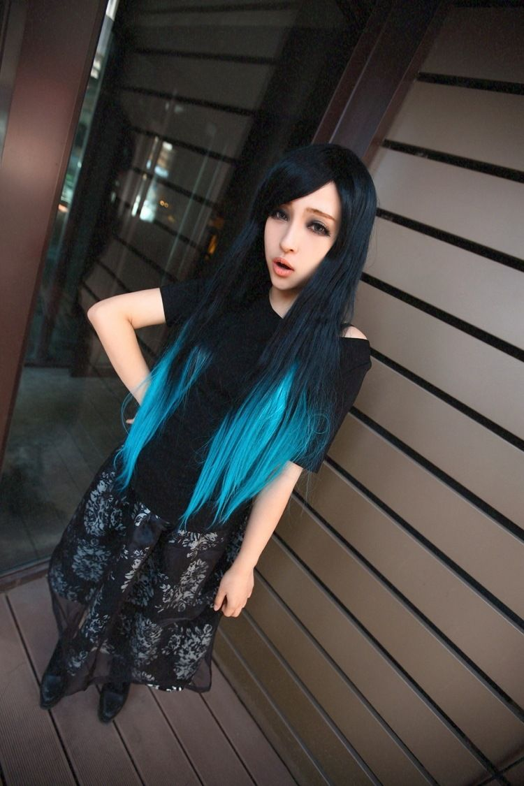 Love this style black t blue omber color long wig hair pinterest