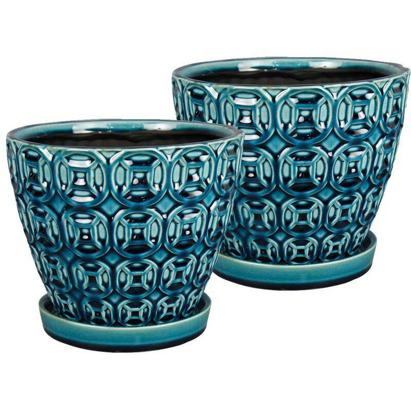 Crowley 2 Piece Ceramic Pot Planter Set In 2020 Ceramic Pot Ceramic Planters Hanging Glass Planters