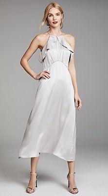 details about zimmermann ruffle midi dress | silver/grey