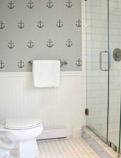 Coastal Wall Treatment Ideas For The Bathroom Wood Panels Murals Tiles More Bathroom Renovation Trends Bathroom Wall Art Bathroom Stickers