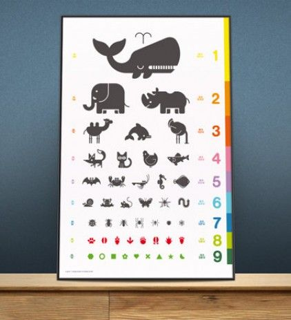 Animal Eye Chart Art Print Poster For Kids From E Glue Made By E