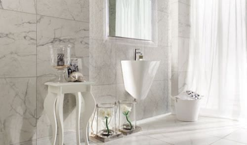 Bathroom Ceramic Wall Tile Marble Look Carrara Tubadzin Indoor Tile Ceramic Wall Tiles Carrara Ceramic pictures for the bathroom