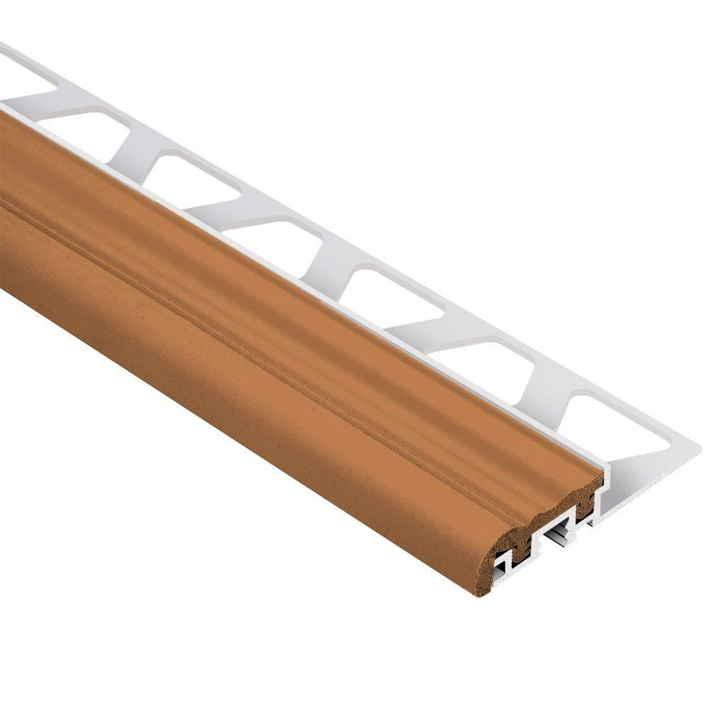 Increase The Durability Of Tiled Areas Using This Schluter Trep S Aluminum  With Nut Brown Insert Metal Stair Nose Tile Edging Trim.
