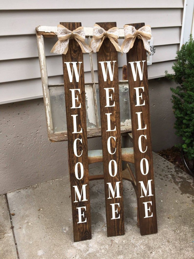 Welcome Sign Leaning Porch Sign Rustic Home Decor Painted Wooden Sign Stained Welcome Sign Small Welcome Sign Rustic Porch Sign Porch Signs Wooden Welcome Signs Painted Wooden Signs