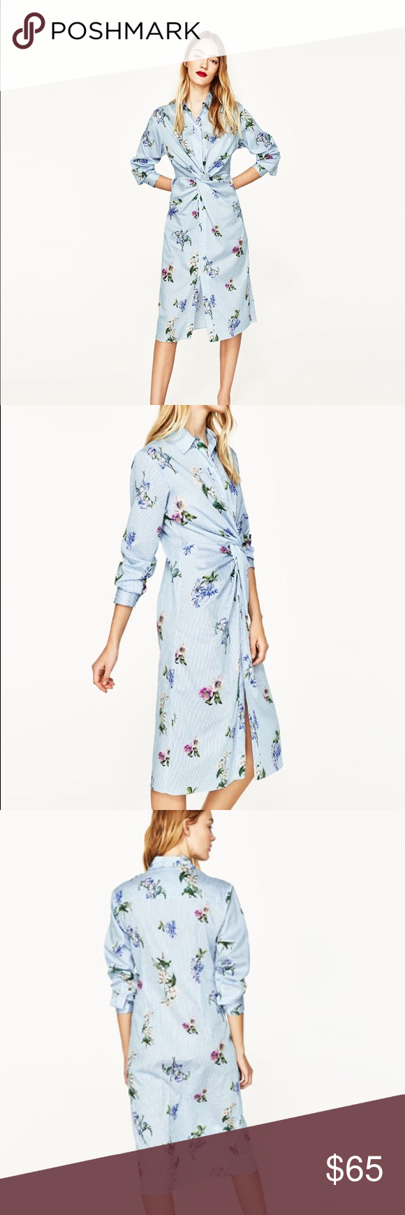 Zara Flower And Stripe Shirt Dress Nwt Pinterest Flower Prints