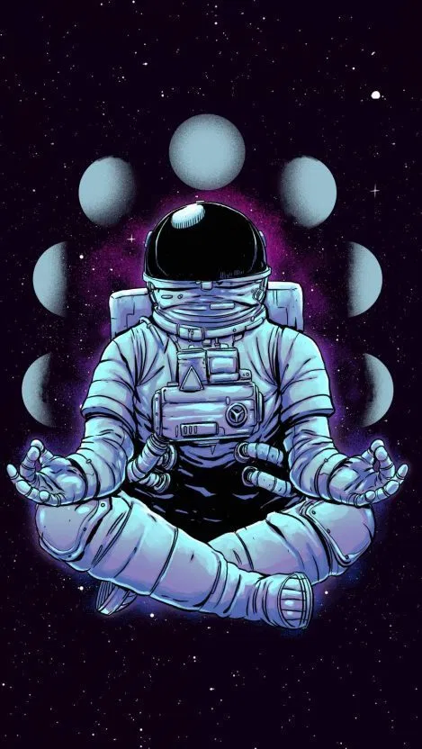 Meditation Astronaut iPhone Wallpaper Free Space art