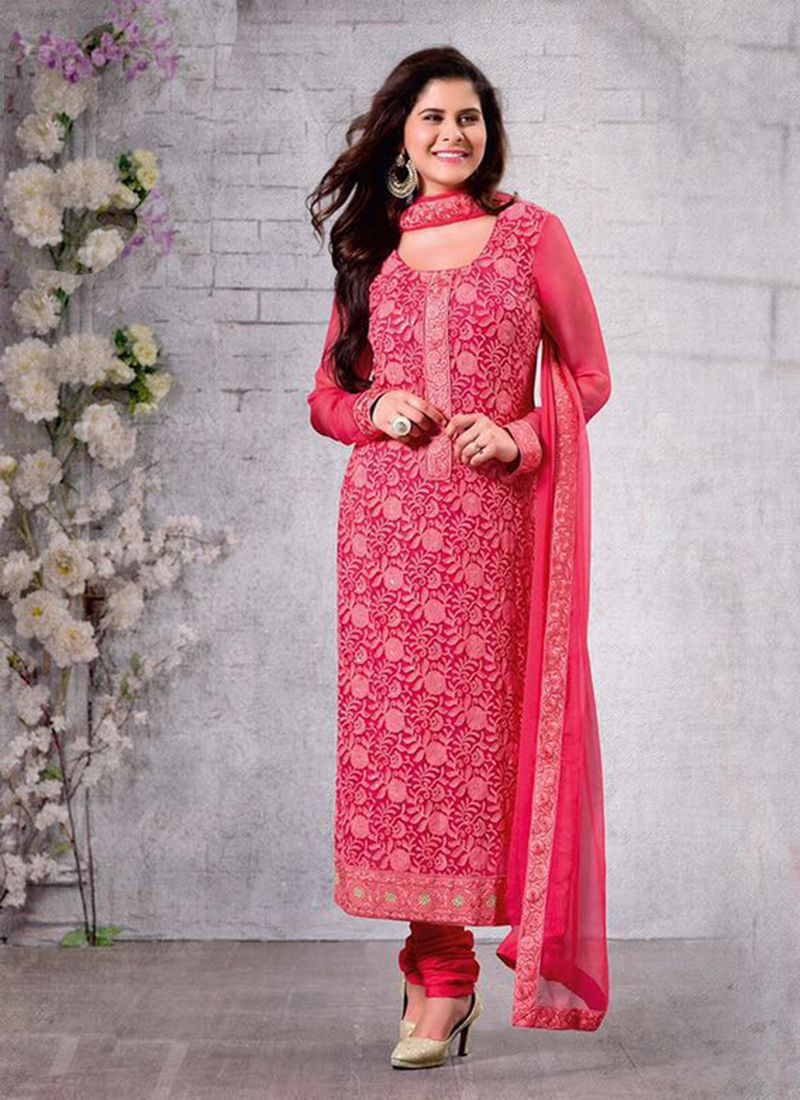 17d14c34fe red-chiffon-party-wear-embroidered-work-churidar-suit- | Wholesale ...