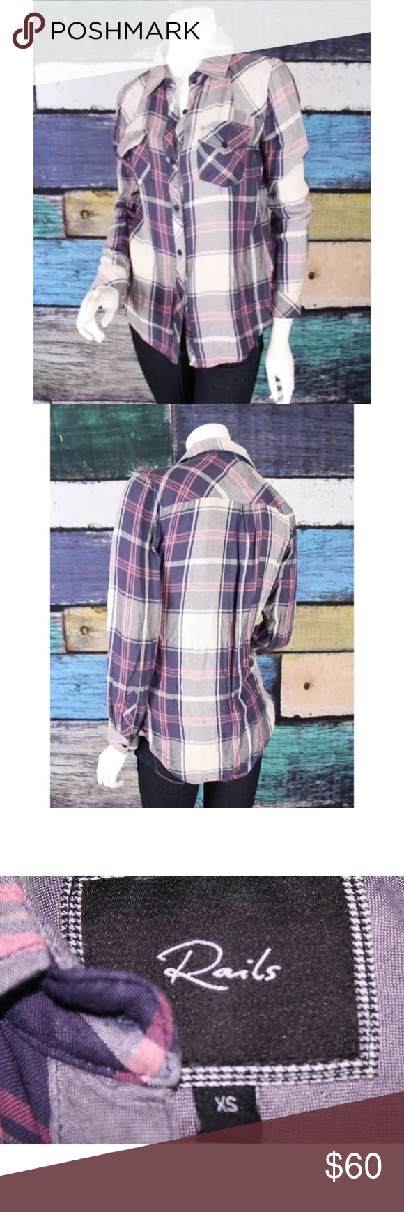 Pink dress shirt blue suit  Rails Blue Pink Hunter Plaid Check Shirt XS  Checked shirts Colour
