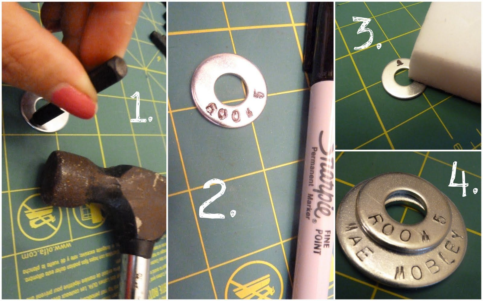 Hand stamped washers