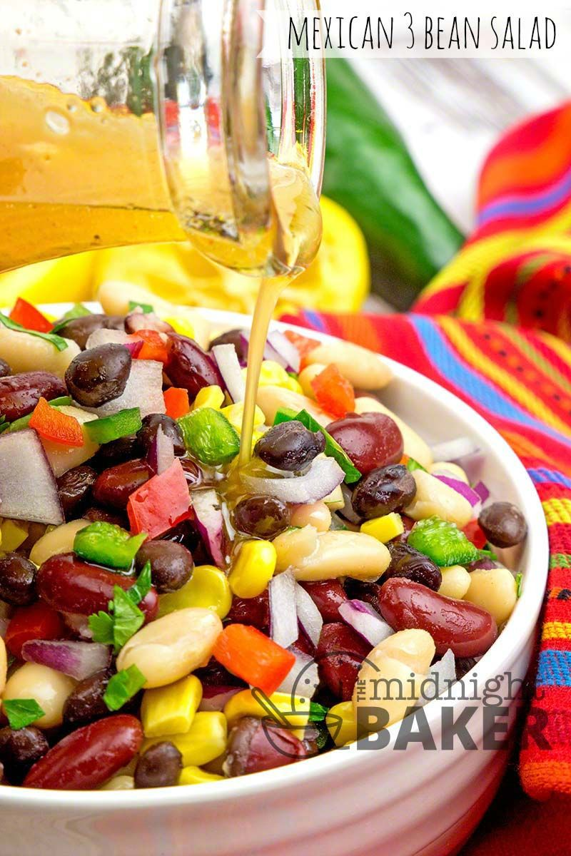 Simple Mexican Style Bean Salad That S A Complete Meatless Meal Simple Yet Stunning If You Re Loo Green Vegetable Recipes Three Bean Salad Fluff Salad Recipes