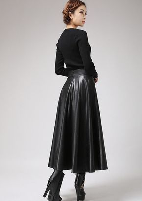c2ea4ba23f Long leather skirt | Leather skirts | Faux leather skirt, Long ...