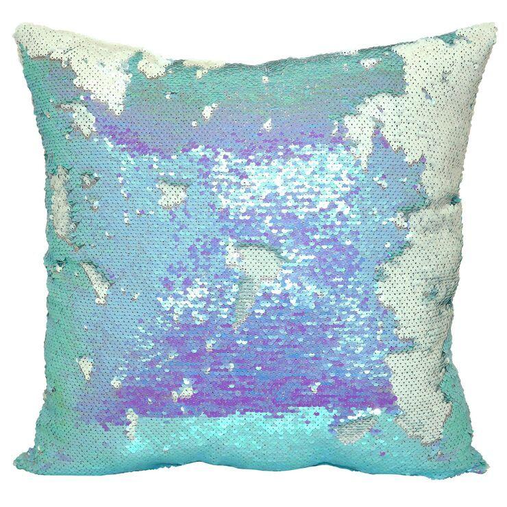 "Mermaid Sequin Throw Pillow, 18"" x 18"", Aqua/White"