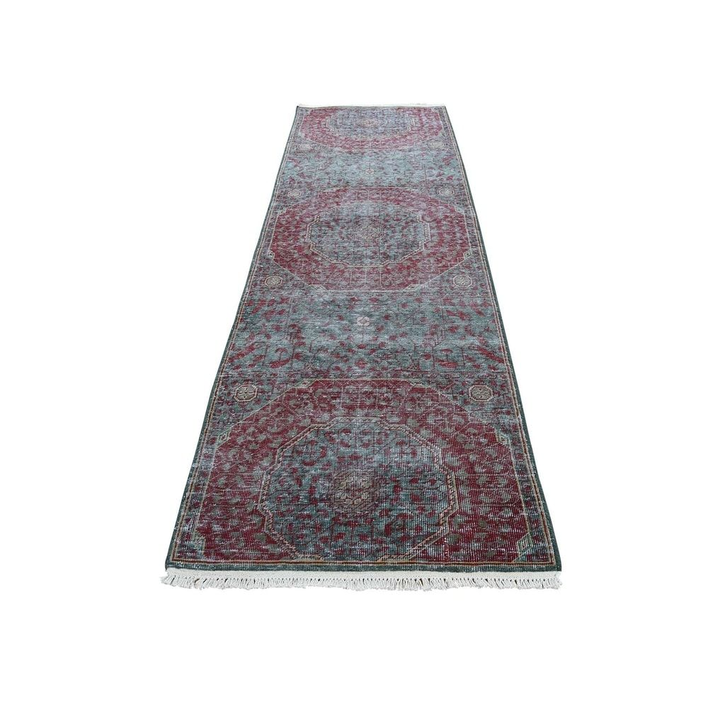 Shahbanu Rugs Vintage Look Mamluk Zero Pile Shaved Low Worn Wool Runner Rug 2 6 X 8 1 2 6 X 8 1 In 2020 Rug Runner Rugs Colorful Rugs