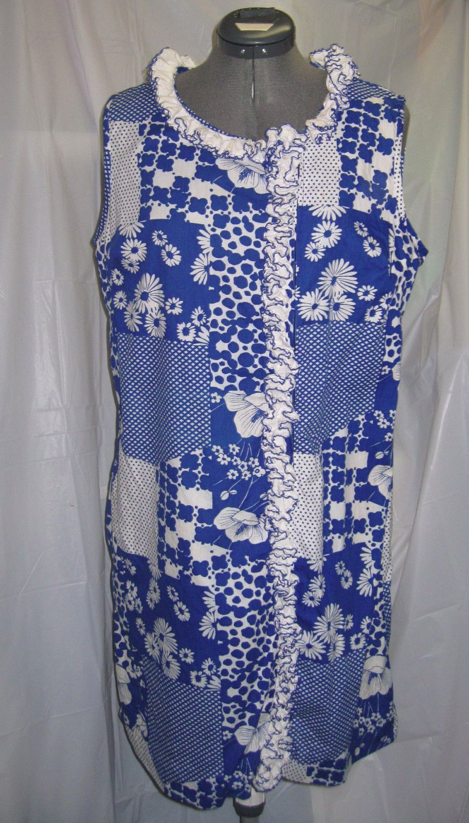 On Sale Womens Vintage Miss Elaine House Dress Blue White Ruffle Collar Size s M | eBay
