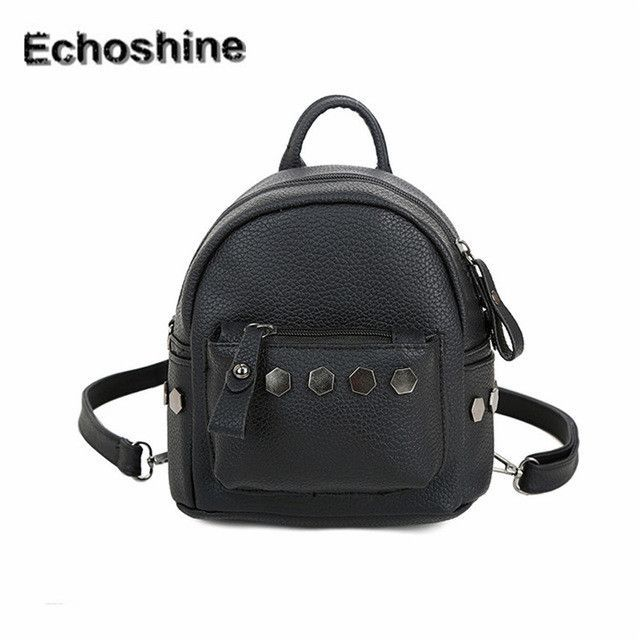 2016 best price Fashion Women Backpack Good Quality Rivet School Backpacks  Leather Backpack travel bag gift wholesale cea174186f