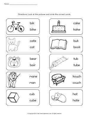 Worksheet | Correct Word | Look at the pictures and circle the correct words.