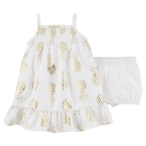 c315650594ab Just One You™Made by Carter's® Newborn Girls' Sleevelss Pineapple Dress -  White/Gold
