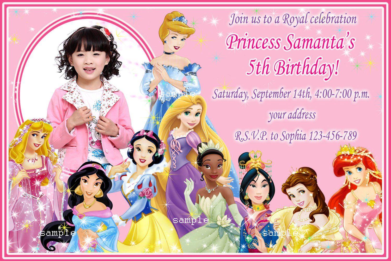 Disney Princesses Birthday Invitations Disney Princess Birthday Invitati In 2020 Princess Birthday Invitations Disney Princess Invitations Princess Party Invitations