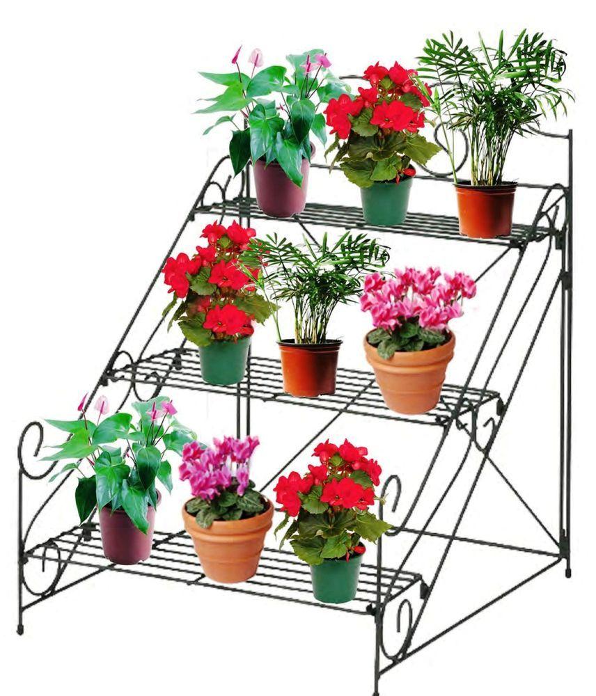 3 tier garden plant pot display etagere stand flower patio for Indoor flower design