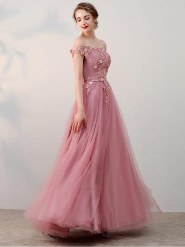 42cc17ee9a8 Chic A-line Off-the-shoulder Pink Applique Tulle Modest Long Prom Dress  Evening Dress AM230