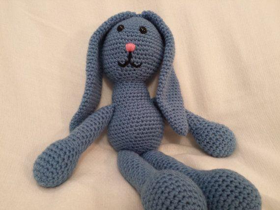 Blue Crochet Bunny Rabbit Amigurumi by TheHappyStar on Etsy