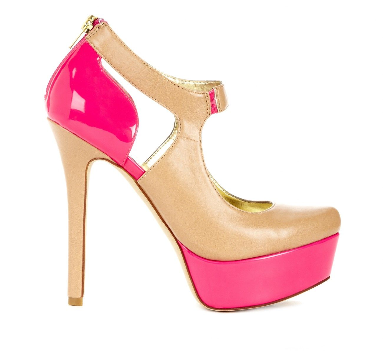 Hot pink and sand mary jane pump!