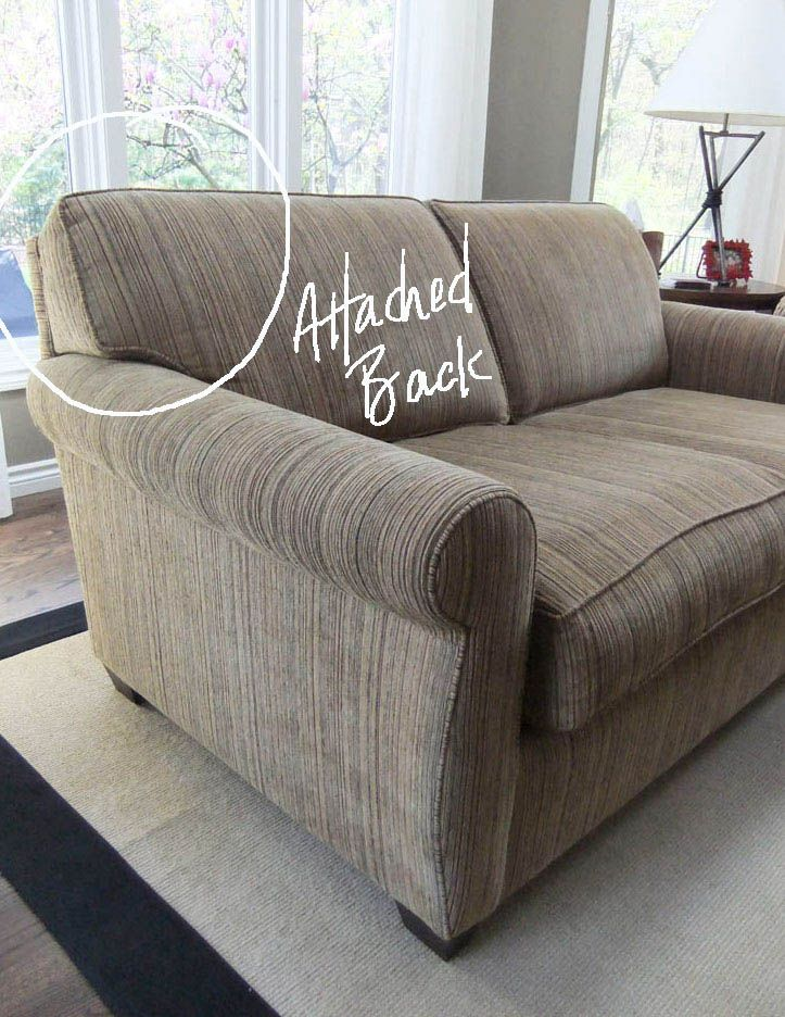 The Slipcover Maker S Guide To Detaching Back Cushions The Slipcover Maker Upholstered Couch Cushions On Sofa Slipcovers For Chairs