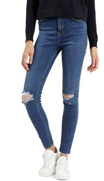 5dff2500253a36 Shop for Women's 'Jamie' Ripped High Rise Ankle Skinny Jeans by Topshop at  ShopStyle. Now for $75.
