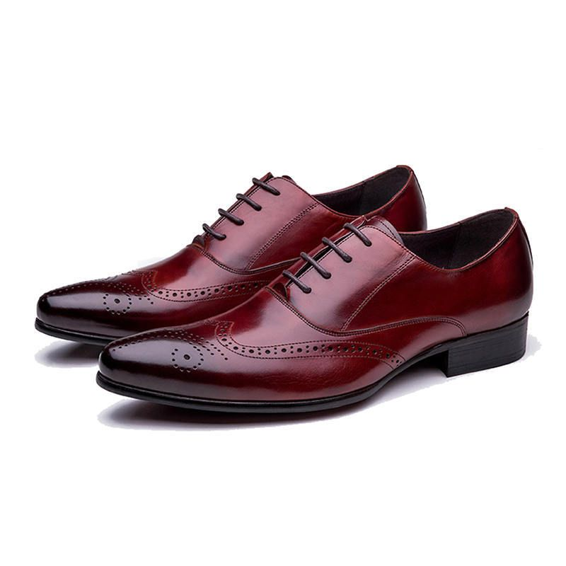 Oxford Burnished Brogue Toe Wing Tip Burgundy Real Leather Lace Up Handmade Shoes