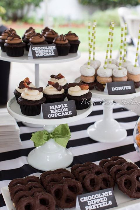 50th Birthday Party Ideas for Men - Dessert Table - Chocolate Covered Potato Chip and Whisky Cupcakes