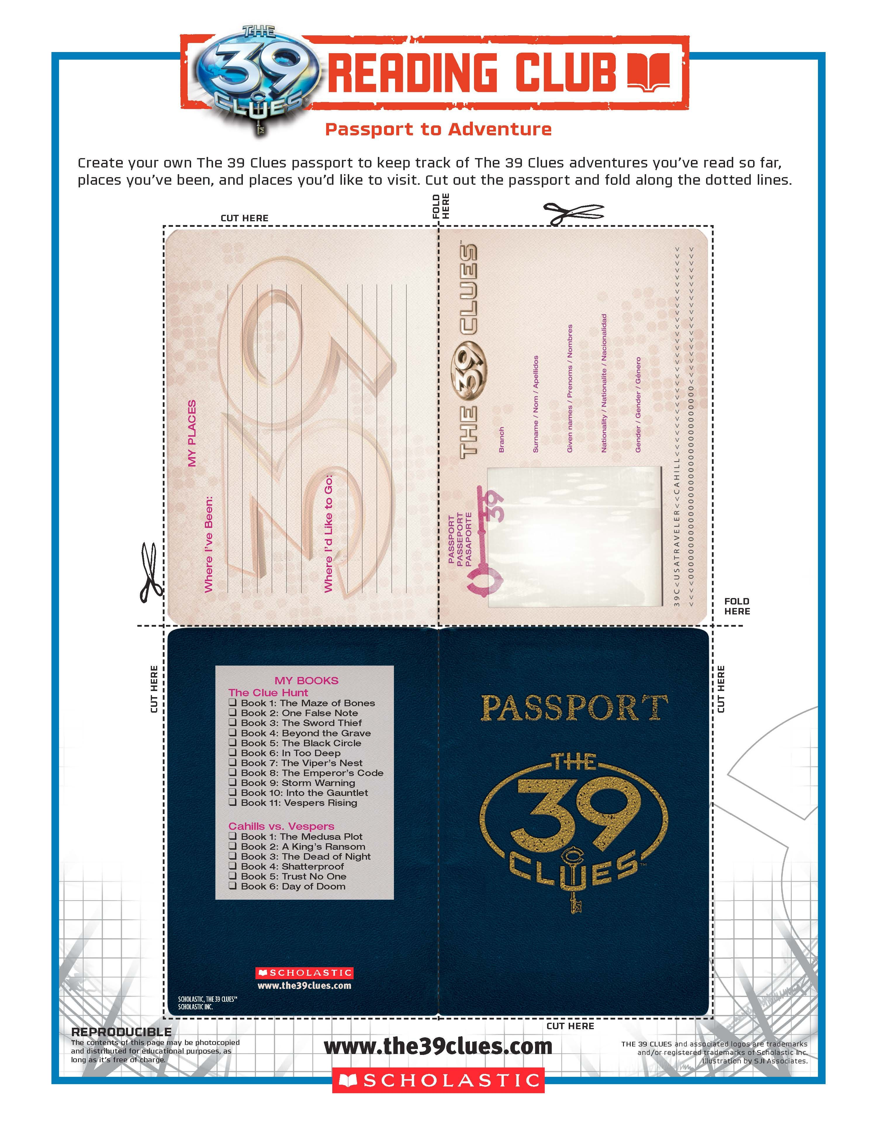 Have Club Members Make Their Own Passport To Adventure With The 39 Clues!  Find More
