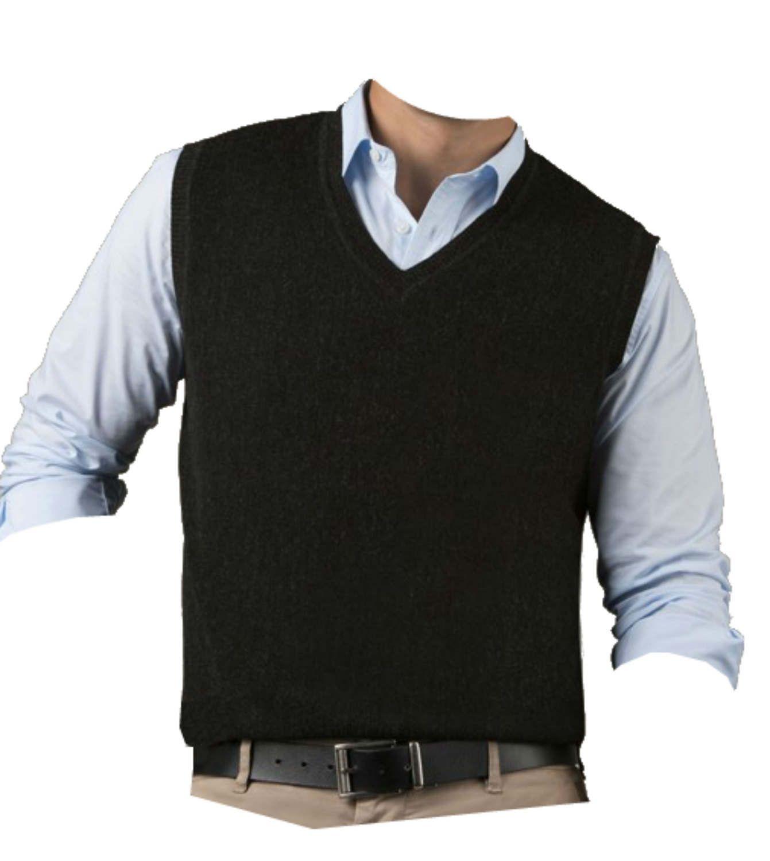 TINKUY PERU 100/% Alpaca Wool Men´s Knit V-Neck Pullover Black Sweater Vest