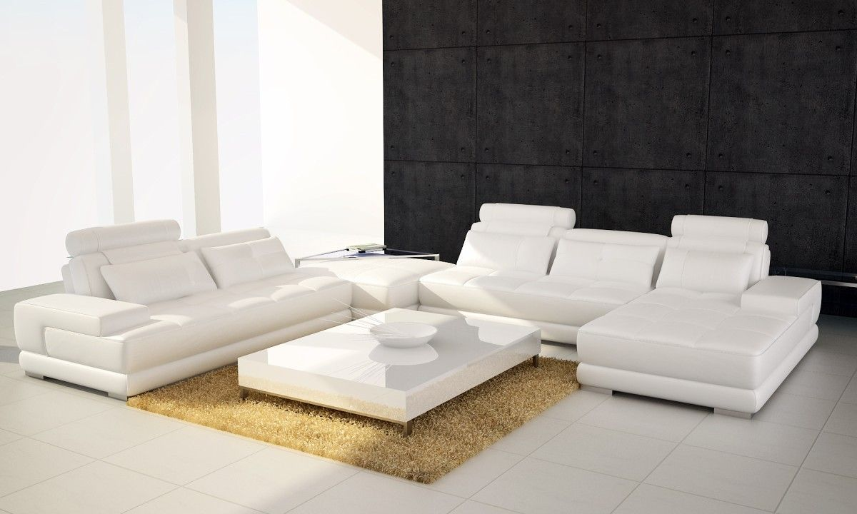 Phantom Contemporary White Leather Sectional Sofa W/Ottoman