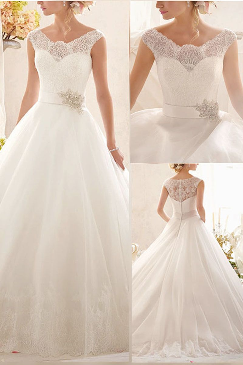 Bateau empire floorlength aline wedding dresses by okdress