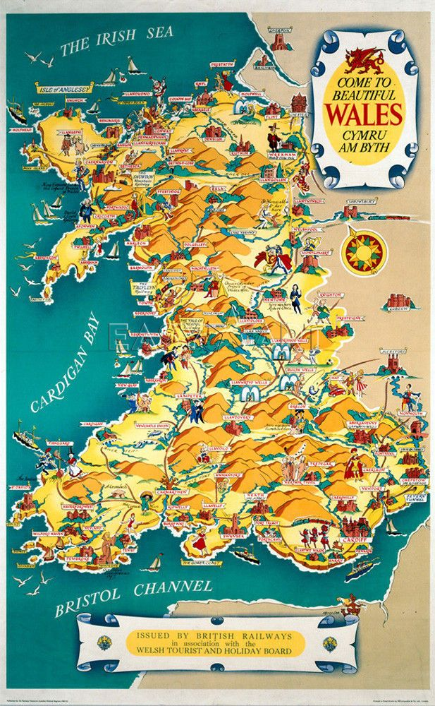 Map Of Wales Uk.Come To Beautiful Wales Wales In 2019 Wales Map Wales Welsh Map