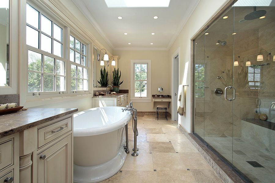 Bathroom Remodel With Renovated Lighting And Tile Fixtures Remodelworks Com Bathroom Design Luxury Custom Bathroom Designs Master Bathroom Design