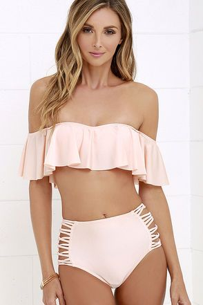 86ca3f3ae43 The O'Neill Lux Solids Peach High-Waisted Bikini Bottom are more than  vacation-worthy! High-waisted bikini bottom has cheeky coverage and sexy  caged sides.
