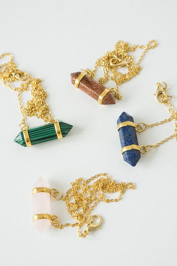 Gemstone Necklace Birthstone Necklace Onyx Necklace by oliki